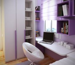 furniture-bedroom-purple-stained-wooden-wall-shelves-above-white-stained-wooden-floating-study-table-bedroom-shelving-units